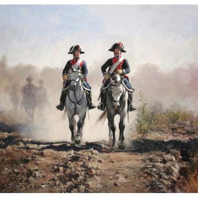 Escultura historica lamina dalmau brigada de carabineros de la guardia real